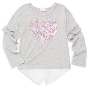 Design History Little Girl's Heart Sequin High-Low Top