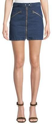 Rag & Bone Racer Zip-Front Denim Mini Skirt
