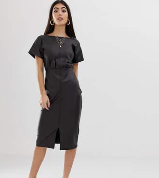 70721bd8c6 Asos DESIGN Petite faux leather midi pencil dress