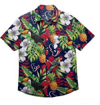 Forever Collectibles Men's Houston Texans Floral Camp Shirt