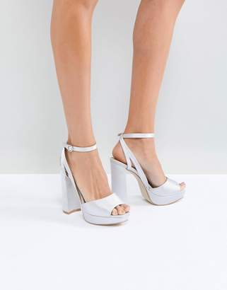 Be Mine Bridal Katia Grey Satin Platform Heeled Sandals