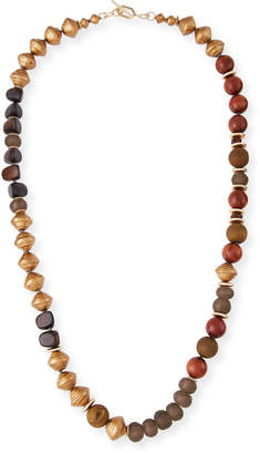 Neiman Marcus Akola Long Glass Metallic Necklace