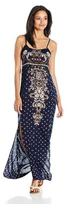 Angie Women's Printed Front Slit Maxi Dress