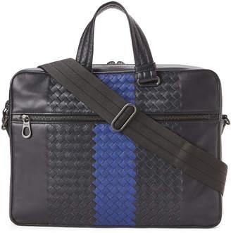 Bottega Veneta Navy & Cerulean Blue Intrecciato Leather Briefcase