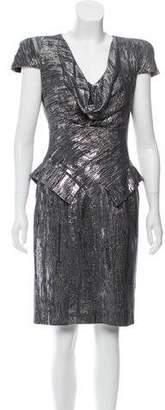 Alexander McQueen Knee-Length Metallic Print Dress