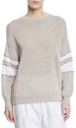 Brunello Cucinelli Knit Pullover Sweater w/Arm Band Stripes