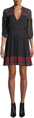 BA&SH Bailey Printed 3/4-Sleeve Mini Dress