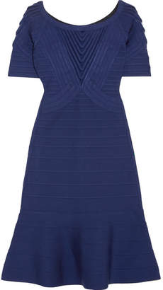 Herve Leger Tulle-paneled Bandage Mini Dress - Blue