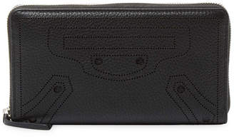 Balenciaga Blackout Perforated Leather Zip Around Wallet