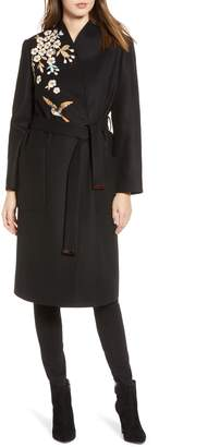 Ted Baker Fennela Embroidered Wool Coat