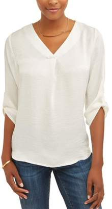 ALISON ANDREWS Women's 3/4 Sleeve Rolled Cuff Washed Satin Shirt