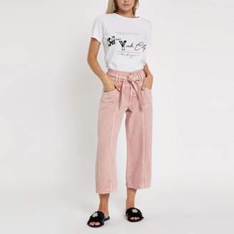 River Island Womens Petite pink belted denim culottes