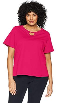 Alfred Dunner Women's Plus Size Solid Beaded Horseshoe T-Shirt