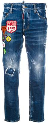 DSQUARED2 cropped distressed jeans with patches