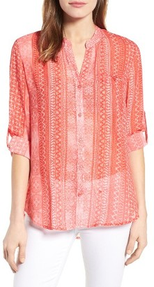 Women's Kut From The Kloth 'Jasmine' Geometric Print Roll Sleeve Blouse $68 thestylecure.com