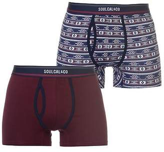 Soul Cal SoulCal Mens 2 Pack Aztec Boxer Shorts Underwear Print
