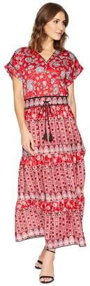 Lauren Ralph Lauren Silky Cotton Sateen Short Sleeve V-Neck Dress Women's Dress
