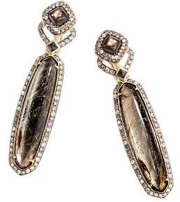 John Hardy 18K Yellow Gold Cinta Rutilated Quartz & Pyrite Doublet, Golden Sheen Sapphire, Black Spinel, Yellow Diamond & Brown Diamond Pavé Classic Chain Earrings - 100% Exclusive