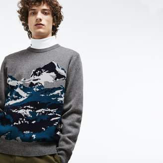 Lacoste Men's Crew Neck Mountain Print Wool And Cotton Jacquard Sweater