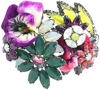 One Kings Lane Vintage Floral Bangle Bracelet by Elizabeth Cole - Owl's Roost Antiques