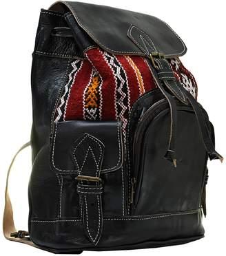 Vintage Addiction Kasbah Authentic Vintage Moroccan Kilim & Black Leather Backpack
