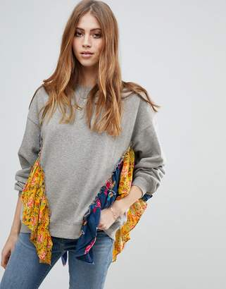 Free People She's Just Cute Floral Trim Sweater