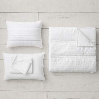 Pottery Barn Teen Pretty Pleats Quilt Bundle, Queen, White