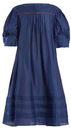 Thierry Colson Jours De Venise Puff Sleeve Dress - Womens - Navy