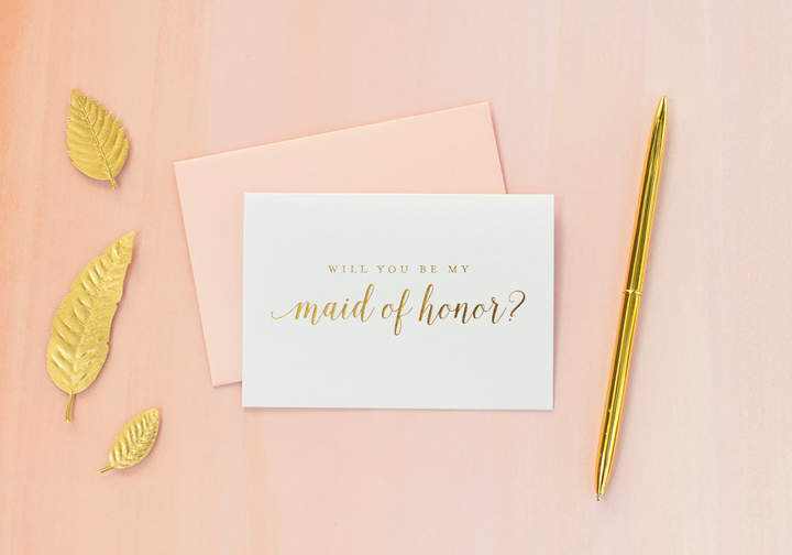 Etsy Gold Foil Will You Be My Maid of Honor card maid of honor proposal bridal party gift bridesmaid gift