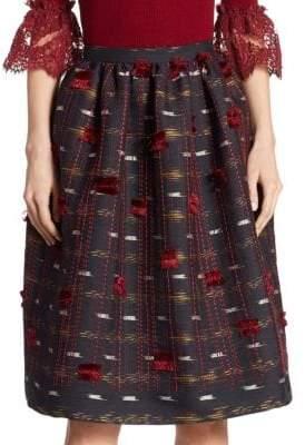 Oscar de la Renta Frayed Detail Skirt