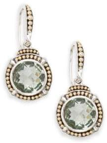 Effy Green Amethyst, Sterling Silver & 18K Yellow Gold Drop Earrings
