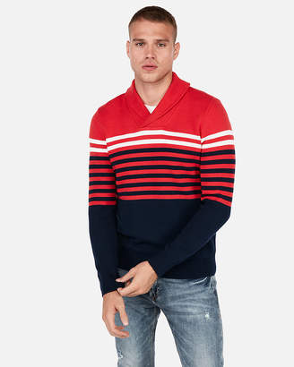 Express Color Block Striped Shawl Collar Popover Sweater