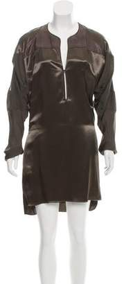 Reed Krakoff Leather-Accented Long Sleeve Dress