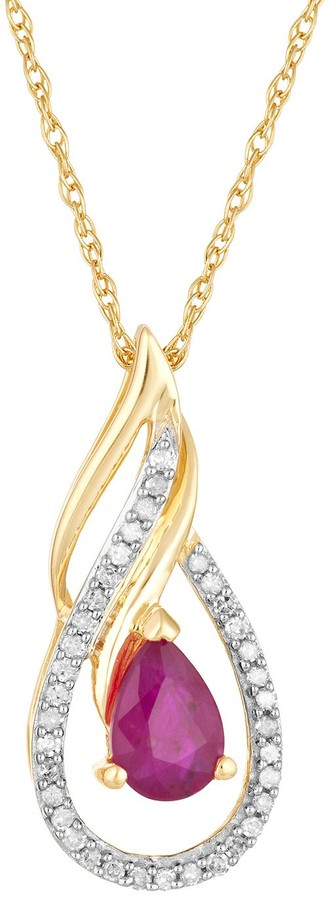 10k Gold Ruby & 1/10 Carat T.W. Diamond Pendant Necklace