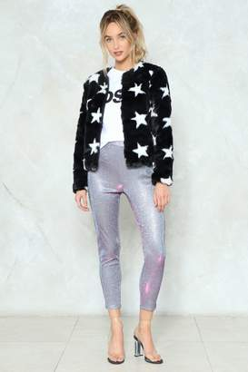 Nasty Gal Roll Up and Shine Glitter Leggings
