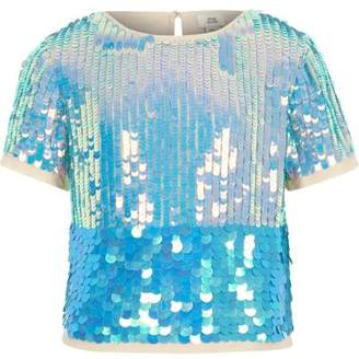 River Island Girls blue sequin emebellished T-shirt