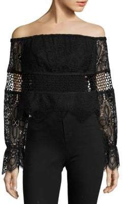 KENDALL + KYLIE Off-the-Shoulder Lace Top