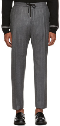 BOSS Grey Banks Pinstripe Trousers
