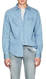 Officine Generale Men's Felix Western-Style Cotton Denim Shirt - Lt. Blue