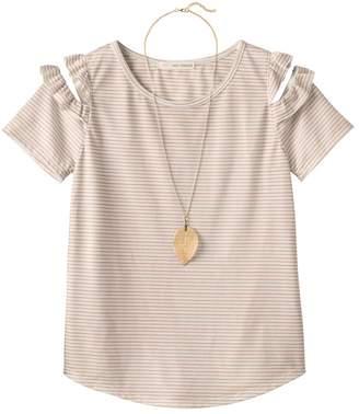 Self Esteem Girls Plus Size Patterned Cold Shoulder Top with Necklace