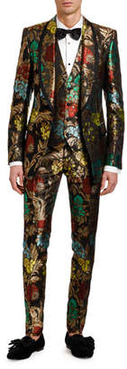 Dolce & Gabbana Men's Multi-Floral Jacquard Three-Piece Evening Suit