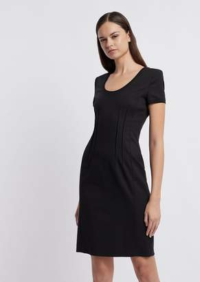 Emporio Armani Sheath Dress With Decorative Raised Stitching