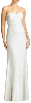 JY Jenny Yoo 'Soho' Metallic Strapless Empire Waist Gown
