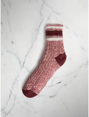 Burberry Striped Detail Chunky-knit Cotton Mouliné Socks
