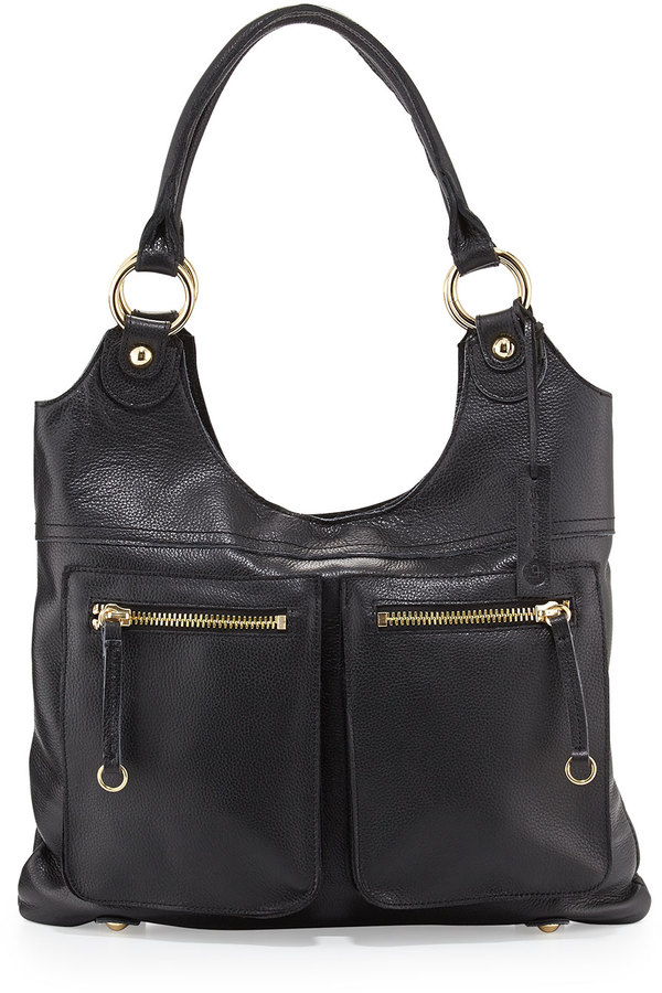Linea Pelle Dylan Front-Pocket Leather Tote Bag, Black