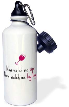 3dRose Now watch me sip, watch me lay lay, picture of wine glass, Sports Water Bottle, 21oz