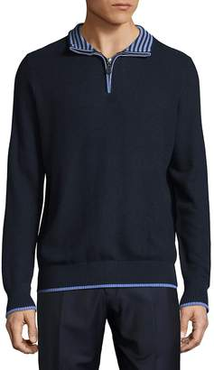 Tailorbyrd Men's Striped Detail Half-Zip Sweater