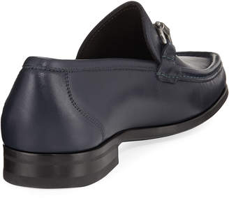 Salvatore Ferragamo Slip-On Calf Leather Dress Shoe, Blue
