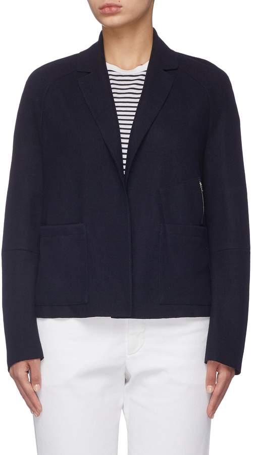 'Virgilia' zip pocket virgin wool blend melton blazer