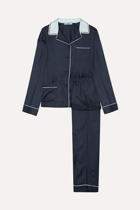 Prada Embellished Silk-twill Pajama Set - Midnight blue